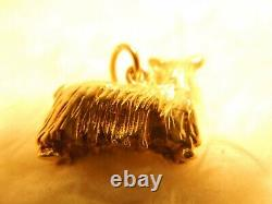 14k Solid Yellow Gold Small Dachshund Dog Charm Pendant 8.4 Gr Yorkshire Terrier