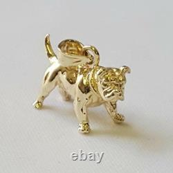 14k Yellow Gold BULLDOG 3D Solid Pendant / Charm, Made in USA
