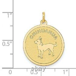 14k Yellow Gold Chihuahua Word And Dog Image On Round Disc Charm Pendant