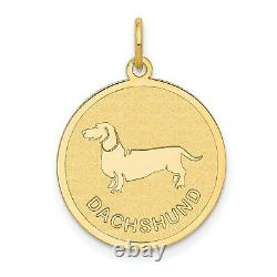 14k Yellow Gold Dachshund Word And Dog Image On Round Disc Charm Pendant
