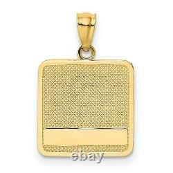 14k Yellow Gold Hand Print And Dog Paw Print Textured Square Charm Pendant