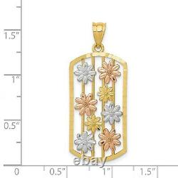 14k Yellow Gold Open Dog Tag Framed Multi-Color Daisy Flower Charm Pendant