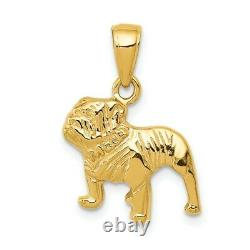 14k Yellow Gold Polished Solid Casted Textured Open Back Bull Dog Charm Pendant