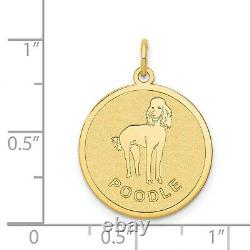 14k Yellow Gold Poodle Word And Dog Image On Round Disc Charm Pendant