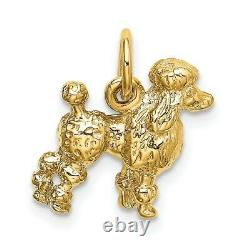 14k Yellow Gold Solid 3 D Poodle Pendant Charm Necklace Animal Dog Fine Jewelry