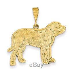 14k Yellow Gold Textured Back Polished Casted Solid Textured Mastiff Dog Charm