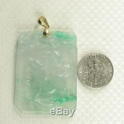 14k Yellow Solid Gold Bale Hand Carved Dog Translucent Green Jade Pendant TPJ