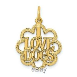 14k Yellow Solid Gold I Love Dogs Pendant (1.54 gram)