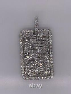 14kt Solid White Gold Dog Tag Pendant with Emerald and Round Diamonds 11.55 cts