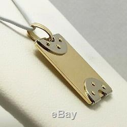 18k Solid Gold Two Tone Italy Dog Tag Necklace (7451)