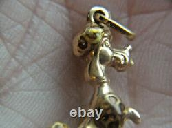 18k solid Gold and Enamel Poodle pendant charm, Italy marked & tested not scrap