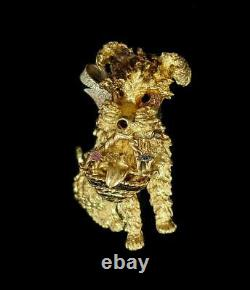 18kt Solid Y. Gold Adorable Dog With Basket Lapel Pin 1 1/4 Tall 1 Wide 10.79gr