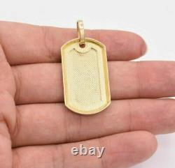 2 Dog Tag Plain Shiny Charm Pendant Real SOLID 10K Yellow Gold Great Gift