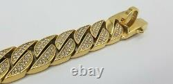 20 Studded Luxury Dog Collar Gold Plated Big Solid Stainless Steel Cuban Link
