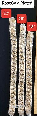 22 Rose Gold Plated Dog Collar Training Solid Heavy Stainless Steel Cuban Link