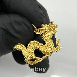 24K Gold Dragon Pendant Lucky Asian Foo Dog 999 Chinese Solid 3D Estate Mens