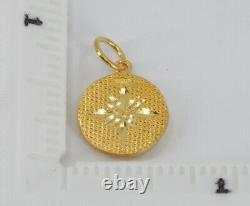 24K Solid Yellow Gold Round Dog Charm Pendant 2.1 Grams 9999