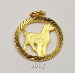24K Solid Yellow Gold Round Dog Charm Pendant 2.5 Grams