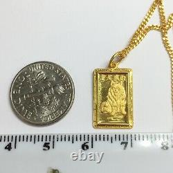 24k Solid Gold Necklace/ Chain With Dog Zodiac Rectangle Pendant 5.96 Grams