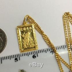 24k Solid Gold Necklace/ Chain With Tiger Zodiac Rectangle Pendant 5.79 Grams