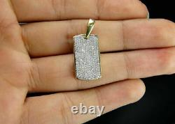 2CT Round Cut Diamond Solid Mens Dog Tag Pendant Charm 14k Yellow Gold Over