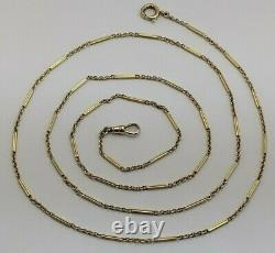 33 Victorian Solid 14k Yellow Gold 2mm Fancy Bar Watch Chain with Dog Clip