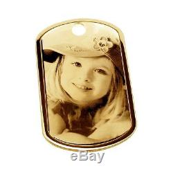 375 SOLID 9CT GOLD PHOTO ENGRAVED LARGE DOG TAG CHAIN & ENGRAVING OPTIONS GIFT