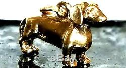 3D! JAMES AVERY RETIRED SOLID 14K GOLD RARE ESTATE DACHSHUND DOG CHARM! POLISHED