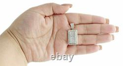 3D Side Pave Charm Diamond Square Tier Dog Tag Pendant 1.310K Yellow Gold Over