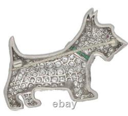 4.04ct Natural Round Diamond 14k Solid White Gold Ruby Emerald Dog Brooch Pin