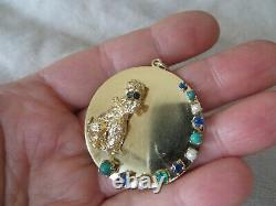 50's 14k Solid Yellow Gold Multi Stones Poodle Dog withEyes Huge Medal Charm 21gr
