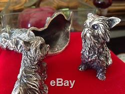 $5000 Collectible Solid Sterling Silver Yorkshire Terrier Sapphires & Gold