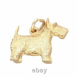 9Carat Yellow Gold Solid Scottish Terrier Dog Charm (17x15mm)
