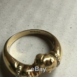 9carat solid gold double head bull dog ring