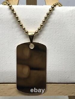 9ct 375 Hallmarked Solid Yellow Gold Personalised Dog Tag Pendant Chain Necklace