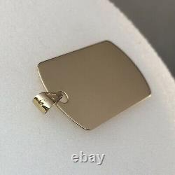 9ct Gold Dog Tag Pendant Solid 3.9cm(inc Bale)x1.9cm 0.7mm Thick 4.2grams NEW