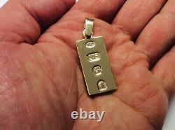 9ct Gold Solid Ingot Pendant 15.8 Grams Dog Tag Investment Bar 1/2 Ounce