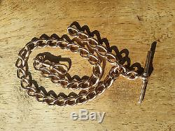 9ct Rose Gold solid Dog Link Single Albert Pocketwatch chain Heavy 45.7G 1897