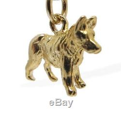 9ct Solid Gold German Shepherd Alsatian Dog Charm Charms Pendant