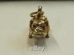 9ct Solid Yellow Gold Heavy Bull Dog Charm 7.1 grams