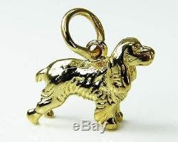 9ct Yellow SOLID Gold Cocker Spaniel Dog / Pendant & Luxury Real Velvet Pouch