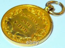 9ct gold edwardian national dog show fob / medal hallmarked 1905 heavy 4.6 grams