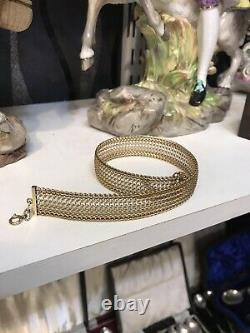 Antique Or Vintage Solid 14ct Yellow Gold Choke Chain Necklece Or Dog Collar