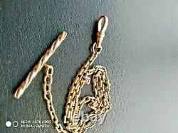 Antique Victorian 9k Solid Yellow Gold Pocket Watch Chain, T Bar & Dog clip. 12.7g