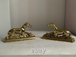 Antique Vintage Solid Brass Pair Greyhound Whippet Dog Mantel Ornaments Bookends