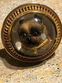 Antique victorian reverse crystal painting dog intaglio solid gold cufflink 19th