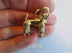 Art Deco 14k Solid Gold 3-d Poodle Dog Ruby Eyes & Pearl Collar Pendant Rare