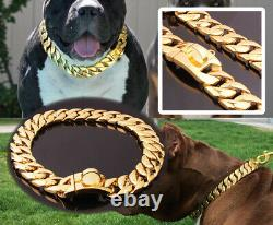 Big Dog Chain Gold Cuban Luxury Designer 32mm Large Collar Solid Stainless Steel