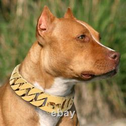 Big Dog Chain Gold Luxury 30mm Width Large Dog Collar Solid Stainless Steel K9