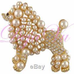 CRYSTAL GOLD PLATED POODLE DOG PIN BROOCH MADE WITH SWAROVSKI ELEMENTS